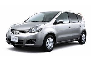 A 4-seater Nissan Note sedan, as available in the Pegasus Rental Cars sub-compact vehicle fleet
