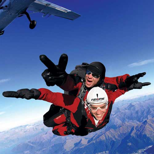 NZONE Skydive Queenstown tandem skydivers enjoy a thrilling jump