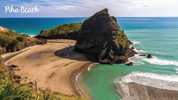 Piha Beach and Lion Rock its iconic landmark