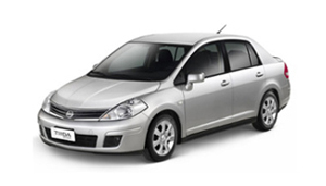 A 5-seater silver sedan, as available in the Pegasus Rental Cars compact vehicle fleet