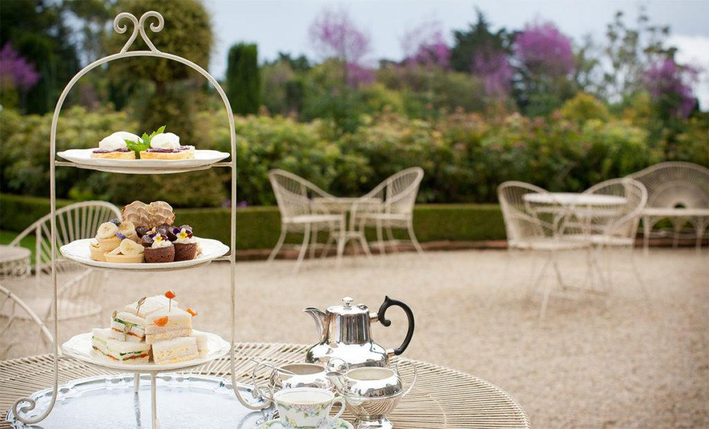 beautiful garden setting for high tea at Larnach Castle
