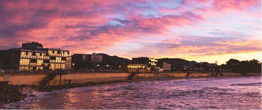 seaside sunset at St. Clair beach.
