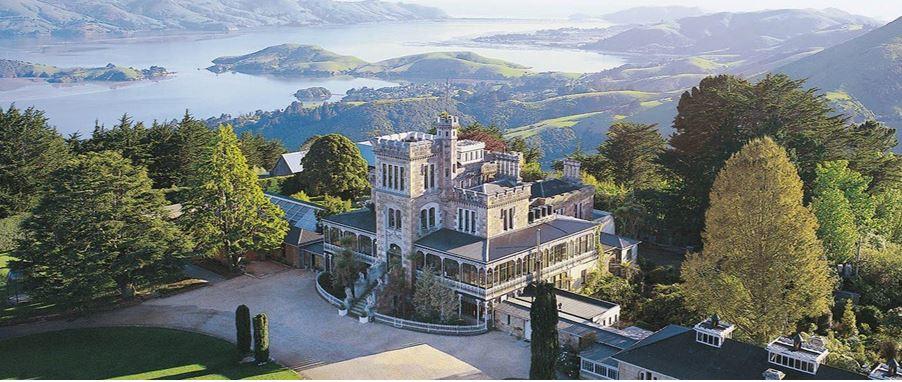 Aerial view of Larnach Castle & Beautiful Gardens in Dunedin.