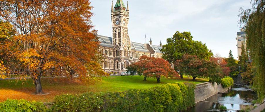 Beautiful Garden and University of Otago Clocktower Building
