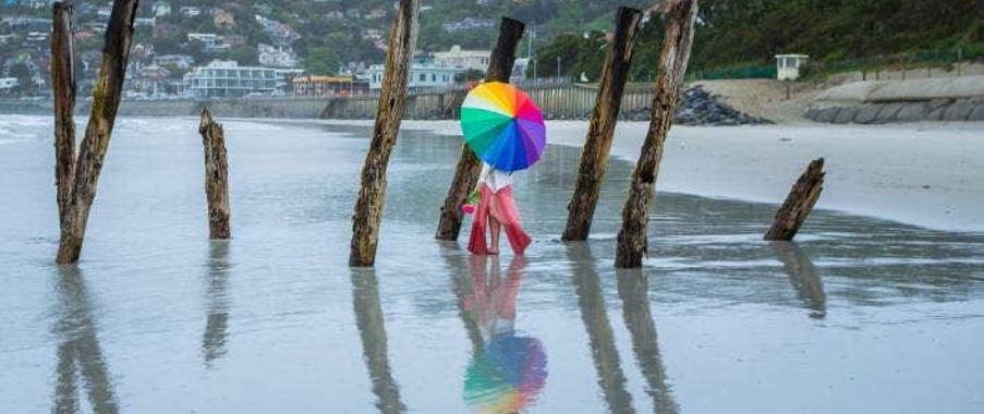 rainy day in Dunedin St Clair beach