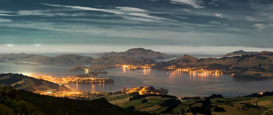night view of Dunedin city from mountain.