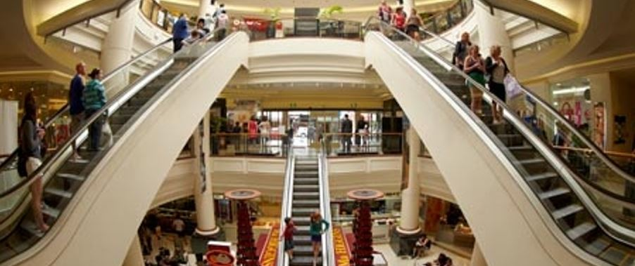 busy shopping at the Meridian Mall in Dunedin