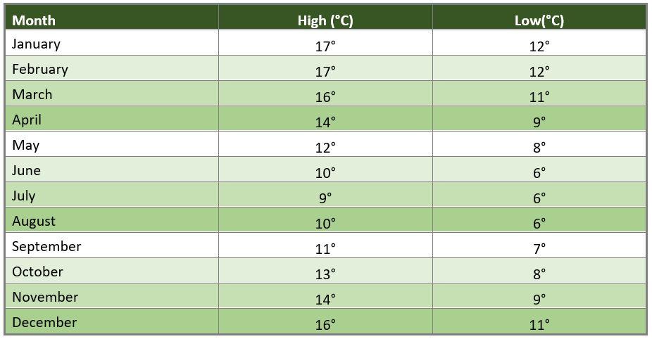 Average Dunedin temperature