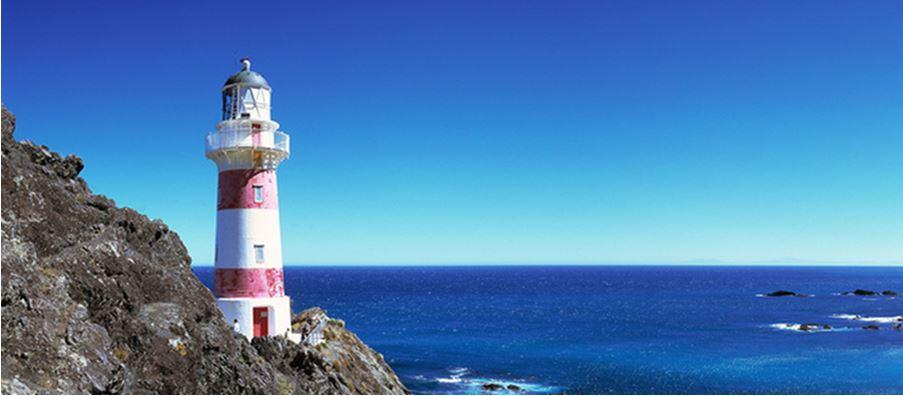 Cape Palliser Lighthouse overlooking the sea.