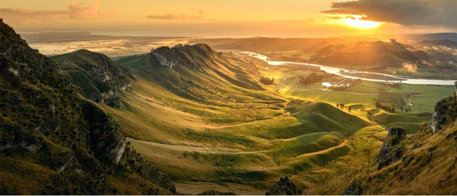 birds eye view of mountain valley during sunrise