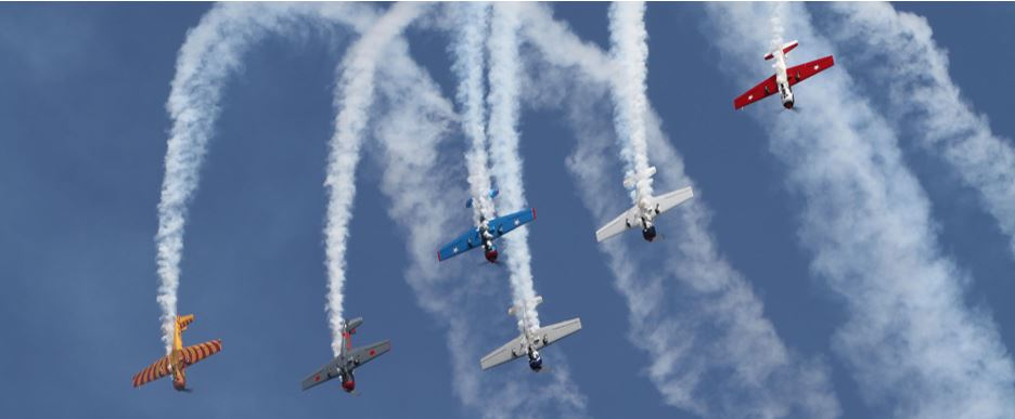 A spectacular flight display of six planes at the Wings Air Festival in Wairarapa.